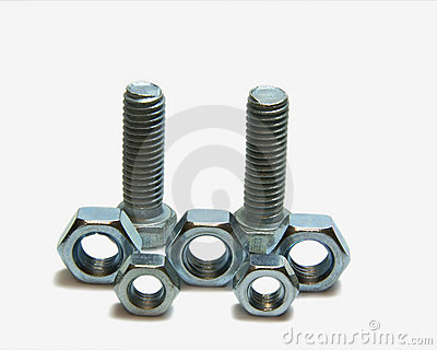 Two head bolts and five screw nuts