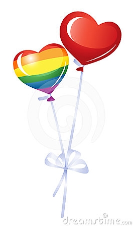 Two heart balloons, rainbow heart