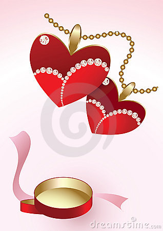 Two heart pendants and red box