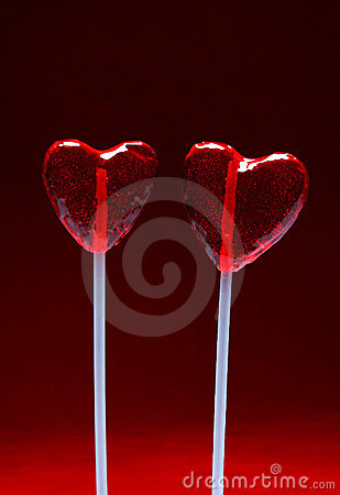 Two heart shaped lollipops for Valentine