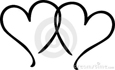 2 Hearts Black And White Clipart