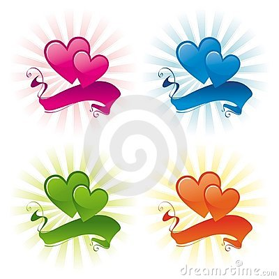 Free Two Hearts And Banner Stock Photography - 4107052