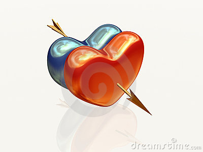 Two hearts with arrow 2