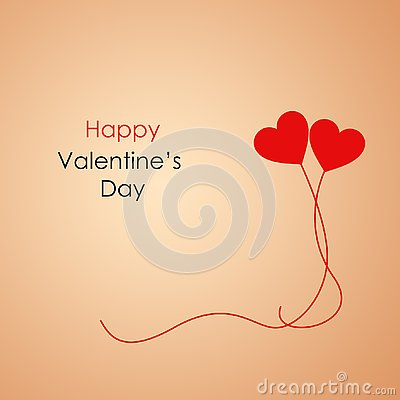 Two Hearts Banner for Happy Valentine`s Day with Text Message and two Red Flying Balloons Stock Photo