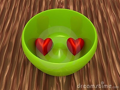 Two hearts in a bowl