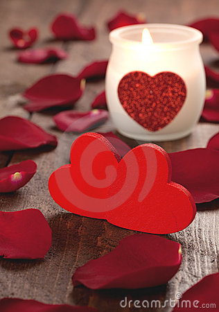 Two hearts and candle