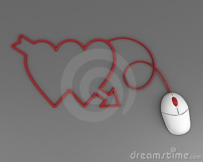 Two hearts depicted by computer mouse cable