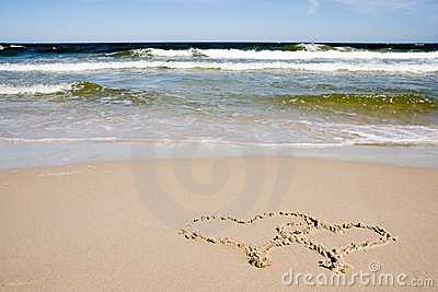 Two hearts drawn on beach