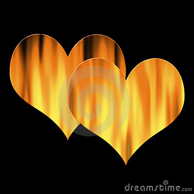 Two hearts in flames