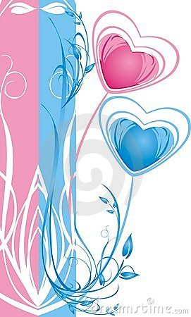 Two hearts. Floral decorative background for card