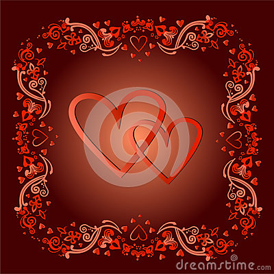 Two hearts in a frame in a vector