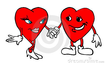 Two hearts holding hands