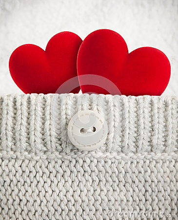 Free Two Hearts In Wool Pocket Stock Image - 28479951
