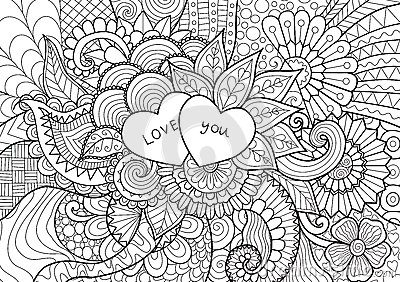 Two Hearts Laying On Flowers For Coloring Book Cards And