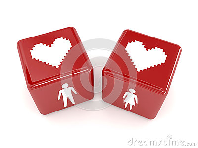 Two hearts, male and female figures on dices.
