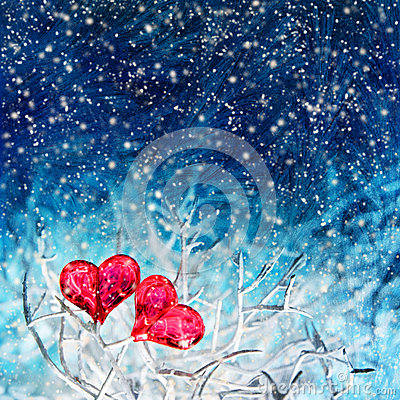 Two hearts over blue background with snowfall
