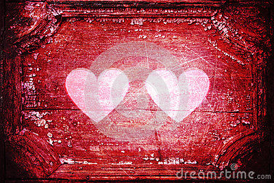 Two hearts red grunge