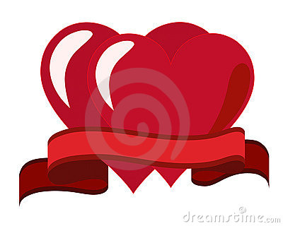Two hearts and a red ribbon