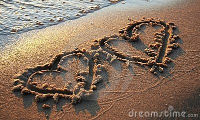 Two hearts on sand