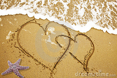 Two Hearts On A Sand Stock Photos - Image: 21207333