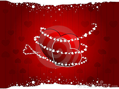 Two hearts on seamless heart shape background.