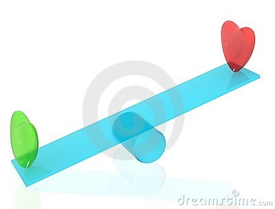 Two hearts on seesaw