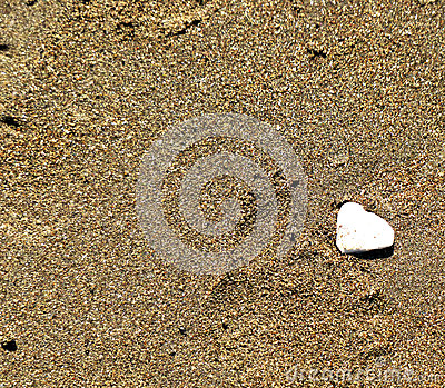Two Hearts Shaped from Sand and Shell