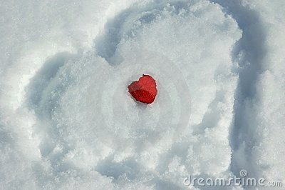 Two hearts and snow