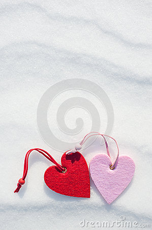 Two hearts on snow
