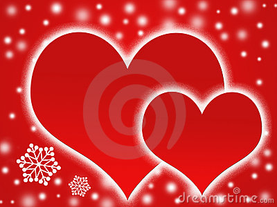 Two hearts and snow flakes
