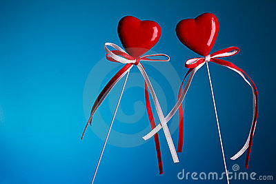 Two hearts on stick
