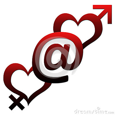 Free Two Hearts With At Sign Stock Images - 29687594