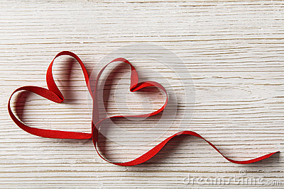 Two Hearts on Wooden Background. Valentine Day, Wedding Love Concept Stock Photo