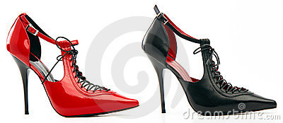 Two high-heeled female shoes with lacing
