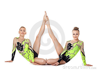 Two high skill acrobats beauty portrait isolated