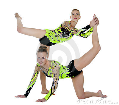 Two high skill acrobats funny portrait