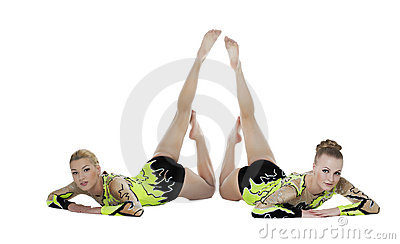 Two high skill gymnasts beauty portrait isolated