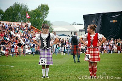Two Highland Dancers Chatting Editorial Photo