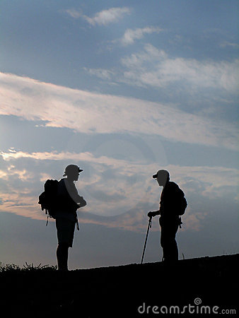 Two Hikers Silhouette