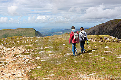 Two hikers walking on Snowdonia