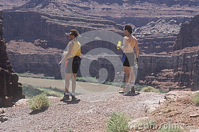 Two hikers with water bottles Editorial Photo