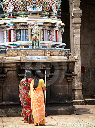 Two Hindu Women Praying In A Temple Editorial Photography ...