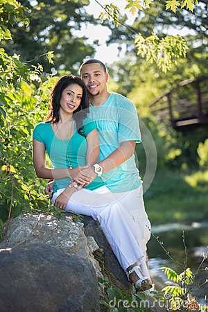 Two Hispanic Couple Engagement Picture