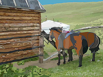 Two horses in front of the wooden house