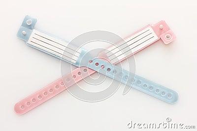 Two hospital ID bracelets