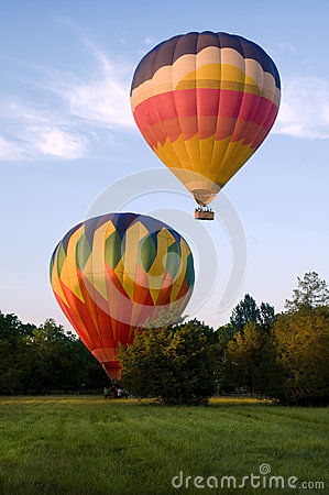 Free Two Hot-air Balloons Taking Off Or Landing Royalty Free Stock Photo - 33557565