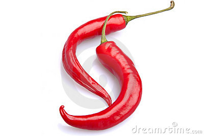Two hot red peppers