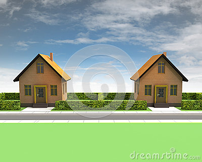 Two houses in neighborhood with blue sky