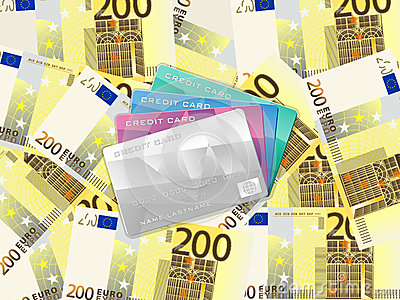 Two hundred euro background and credit card
