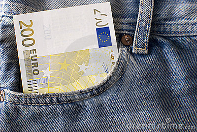 Two hundred Euro banknote in jeans pocket.